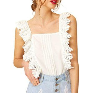 Womens Sleeveless Lace Pleated Tank Top